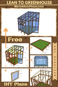 This step by step diy project is about wood lean to greenhouse plans. This is a small greenhouse with a lean to roof, so you can build it next to the property line or even attach it to an already existing building. Diy Greenhouse Plans, Lean To Greenhouse, Backyard Greenhouse, Greenhouse Wedding, Pallet Greenhouse, Homemade Greenhouse, Cheap Greenhouse, Portable Greenhouse, Shed Plans