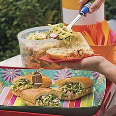 Chopped Chicken Sandwich With Crunchy Pecan Slaw from MyRecipes.com #myplate #protein #vegetable