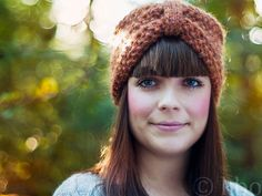 Hand-knit woolen headband in amber heather. $26.00, via Etsy.