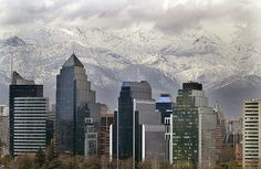 Love the backdrop to the modern #architecture in Santiago, #Chile #travel