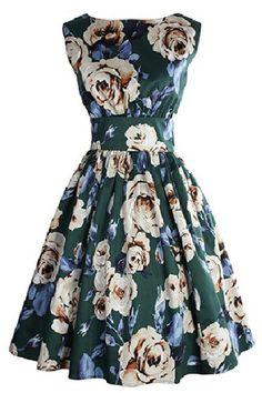 $10.93 Retro Style Sleeveless Round Neck Floral Print Dress For Women