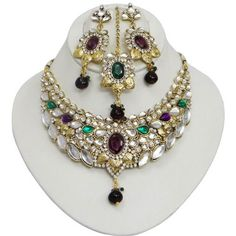 Traditional Gold Tone Purple Green CZ Necklace Set Indian Bollywood Jewelry Wedding Party Wear Bridal Ethnic Jewelry IBA