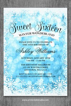 Winter wonderland sweet 16 invitations. A modern design featuring blue glitter lights with a snowflake border and script font.
