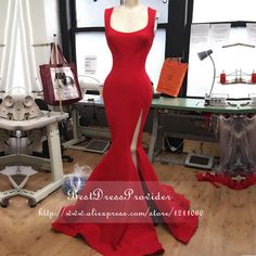 Find More Prom Dresses Information about Real Sample Long Prom Dresses 2016 Square Collar Sleeveless Stretch Satin Floor Length Red Mermaid Prom Dress With Slit,High Quality dress white dress,China dress with back zip Suppliers, Cheap dress stand from BestDressProvider on Aliexpress.com