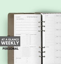 At A Glance Weekly Planner Ver.2.0 ▹ for Filofax Personal Printable At A Glance Weekly Planner in minimal layout This 2 Weekly Planner are contain