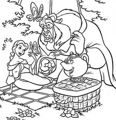 The Beast And Belle Picnic In Garden Coloring Pages Belle Coloring Pages, Garden Coloring Pages, Online Coloring Pages, Coloring Pages For Kids, Coloring Sheets, Free Coloring, Disney Plus, Colorful Garden, Beauty And The Beast