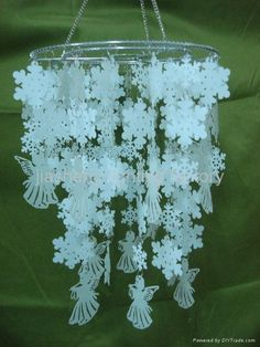 snowflakes and angels paper chandelier