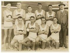 Bondi surf beach lifeguards in their swimsuit uniforms, 1930. Photo by Sam Hood