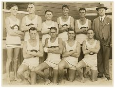Bondi surf beach lifeguards in their swimsuit uniforms, 1930. Photo by Sam Hood