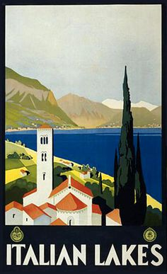 Italian Lakes Italy - www.MadMenArt.com | Travel Vintage Advertising Posters. Features travel destinations all over the world, reached by bicycle, motorbike, train, boat or airplane. #Travel #Posters #Vintage #Ads #VintageAds #TravelPosters