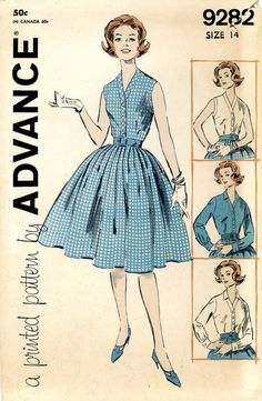 Vintage Sewing Pattern - 1960s Misses Two-Piece Dress, Advance Pattern 9282 Size14 Bust 34