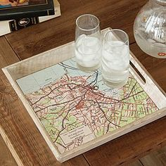 Featuring the special spot of your choice, this custom map tray celebrates the cartography of your life. Chelydra Serpentina, Map Crafts, Thrift Store Crafts, Unique Wedding Gifts, Custom Map, Tray Decor, Unusual Gifts, Cartography, Map Art