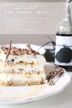 ice cream cake salty5 Ice Cream Treats, Diy Cake, Milk And Honey, Sweet And Salty, Bodypump, Rustic Kitchen, Sorbet, Vanilla Cake, Sweet Recipes