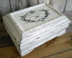 Wood Jewelry Box White French Script UpCycled by bigredbarnbam, $72.00