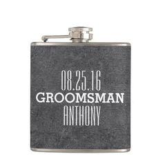 Custom Vintage Style Wedding Groomsman Flask