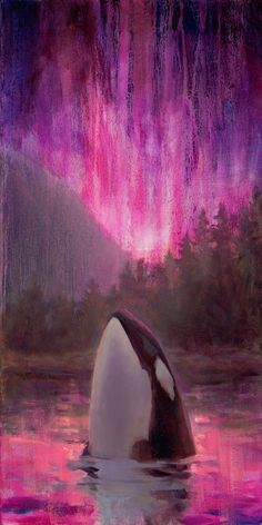 Aurora Orca - Original Northern Lights Killer Whale Oil Painting on Canvas by Karen Whitworth. About my painting: After dark near the arctic can be a magical time. Especially during the long winter months where darkness extends into day. This darkness provides a perfect canvas for the dramatic light show that is the Aurora Borealis, or northern lights. I loved watching the aurora when I lived in Alaska. While these shows usually consist of yellowish green shafts of light, on very special…