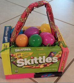 Make An Easter Basket Out Of Candy Boxes ~ It's Edible! - Easter Crafts - Easter Baskets - Easter Crafts for Kids