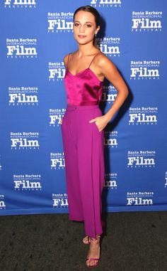 Alicia Vikander from The Best of the Red Carpet  The Oscar nominated actress shines in perfectly polished fuchsia Barbara Casasola.