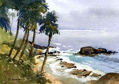 Heisler Park Palms by Larry Cannon Watercolor ~ 10 x 14