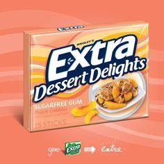 Wrigley's Extra Gum Dessert Delights Peach Cobbler (Sugar Free Gum)