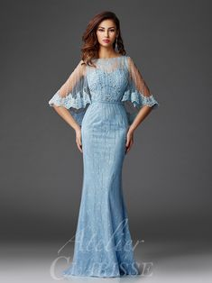 Clarisse - Lace Capelet Shimmering Evening Gown in Blue Mob Dresses, Bridal Dresses, Fashion Dresses, Bcbg Vestidos, Robes D'occasion, Lace Evening Gowns, Bride Gowns, Designer Gowns, Look Chic