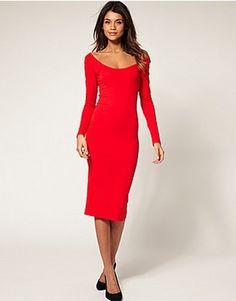 ASOS Fashion Finder   ASOS Midi Bodycon Dress with Long Sleeves