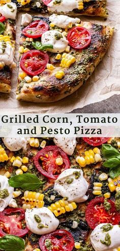 Grilled Corn, Tomato and Pesto Pizza features some of summer's best produce! Topped with pesto, dollops of ricotta cheese, grilled corn, sweet tomatoes and fresh basil. #pizza #grilledpizza #grilledcorn #corn #tomatoes #pestopizza Pesto Pizza, Tomato Pesto, Grilled Pizza Recipes, Veggie Recipes, Chicken Recipes, Sandwich Recipes, Vegetarian Recipes, Barbecue Recipes, Pizza
