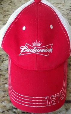 5a9bfae7 Budweiser Beer 1876 red snapback dad hat baseball cap white mesh  unstructured