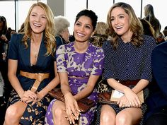 Lusting over their outfits. Sexy but demure. Star Tracks: Thursday, February 13, 2014 | THREE AMIGAS | The always stylish Blake Lively is joined by the equally fashionable Freida Pinto and Rose Byrne at the Michael Kors fall 2014 runway show during the latest star-studded day of Fashion Week on Wednesday in New York City.