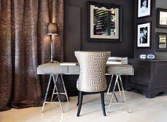 Découvrez dans notre showroom ce magnifique bureau en imitation galuchat signé @andrewmartinint. La chaise est réalisée sur-mesure par Dôme. (tissus @dedarmilano ). At our showroom discover this beautiful desk in faux shagreen by #andrewmartin. Bespoke chair by Dôme. (fabric #dedar). lampe & cadres - light & frames by #eichholtz bougies - candles @maisonlacroix Showroom, Curtains, Beautiful, Home Decor, Frames, Desk, Chair, Candles, Fabrics