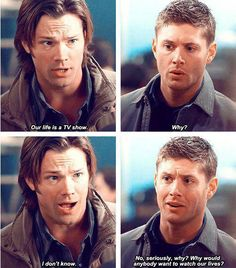 "6x15 The French Mistake...Sam: ""Our life is a TV show."" Dean: ""Why?"" Sam: ""I don't know."" Dean: ""No, seriously, why? Why would anybody want to watch our lives?"""