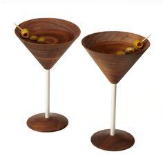 Wooden Martini Glasses, $100, by David Rasmussen