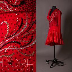 Red Long Sleeve Latin w/ Satin Ruffle Trim Neckline w/ Jet Stoned Lines & Ruffled Satin Chiffon Skirt