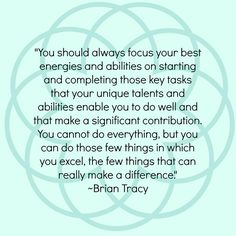 Focus your best energies and abilities...Brian Tracy