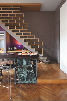Wood brick || Office stairways | Creative| Unique | Designs || #OfficeStairways #Creative #Unique www.ironageoffice.com