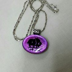 Necklace Cute pink sparkling necklace with a black buffalo on it Jewelry Necklaces