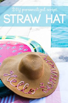 "Have you seen the Eugenia Kim script straw hats? They are large brim straw hats with fun sayings on them, like ""do not disturb! Why not make a personalized version… -Read More – Bachelorette Themes, Cool Diy Projects, Craft Projects, Sewing Projects, Hat Decoration, Hat Crafts, Batik, Straw Hats, Diy Hat"