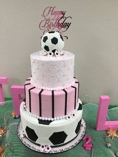 Girls Soccer cake- This is my cake now being featured in Amazing cake ideas- voting on cake is still happening until March Soccer Birthday Cakes, Birthday Cake Girls, Soccer Cakes, Happy Birthday, Bad Cakes, Girl Cakes, Soccer Birthday Parties, Soccer Party, Girls Soccer