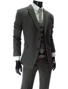 Slim Fit Business Suit in Dark Gray