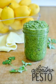 pesto is delicious and takes literally two minutes to make ; coriander pesto is one of my favourites. Cilantro Recipes, Cilantro Pesto, Cilantro Chicken, Chipotle Chicken, Basil Pesto, Real Food Recipes, Vegetarian Recipes, Cooking Recipes, Smoker Recipes
