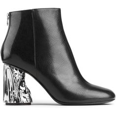 ACNE Ora palm black/silver (6.645 NOK) ❤ liked on Polyvore featuring shoes, kohl shoes, zip shoes, black silver shoes, leather sole shoes and silver shoes