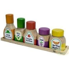 Found it at Wayfair - Melissa and Doug Wooden Magnetic Kitchen Bottle Collection Kids Play Kitchen, Toy Kitchen, Wooden Kitchen, Diy For Kids, Gifts For Kids, Ikea Duktig, Wooden Food, Melissa & Doug, Felt Food