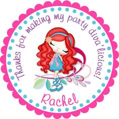 Glam Chic Diva Girl 3 Personalized Stickers  Party by partyINK, $6.00
