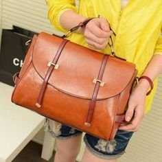 Cheap Wholesale Casual Pure Color Buckle and Tote Design Women's Shoulder Bag (BROWN) At Price 12.99 - DressLily.com