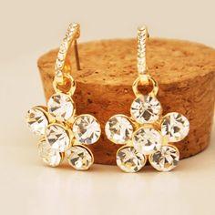 Pair of Bling Bling Fully-jewelled Flower Earrings For Women #jewelry, #women, #men, #hats, #watches, #belts
