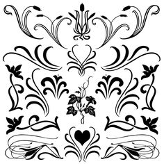 Free Fancy Floral Flourish Shapes and Brushes for Photoshop: Florals with Flourish Solid Set 1