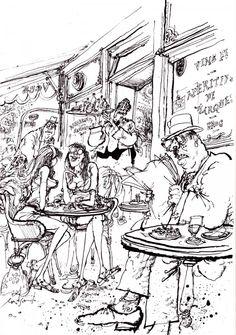 Ronald Searle Au cafe des retraites Spring.  Ah Yes Paris 1961-1965 p45