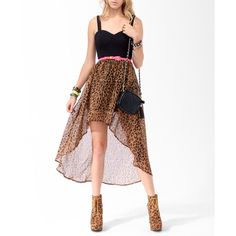 High-Low Leopard Skirt