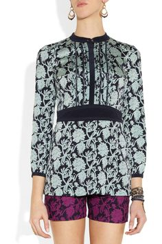 Dolores printed stretch-silk crepe de chine tunic top by Tory Burch