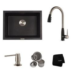 KRAUS All-in-One Dual Mount Granite 24 in. Single Bowl Kitchen Sink with Faucet in Stainless/Spotless Black Onyx-KGD-410B-1702-42SS - The Home Depot